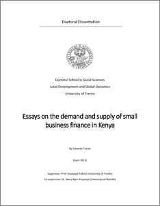 essays on the demand and supply of small business finance unitn  abstract